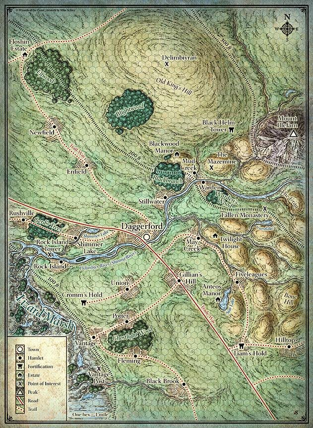 Daggerford Surrounding Towns and Hamlets and Fortifications and Estates and Points of Interest