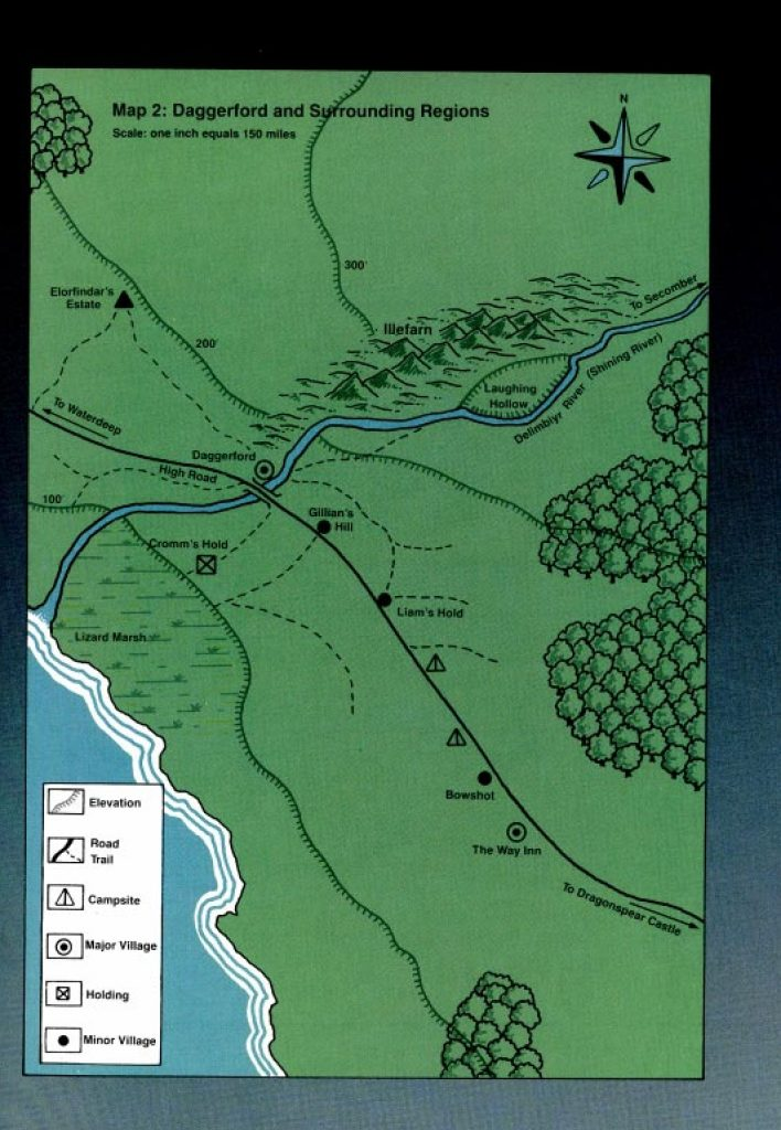Daggerford and Surrounding Regions including Campsites on Trade Way with Gilllian's Hill and Liams Hold and The Way Inn53