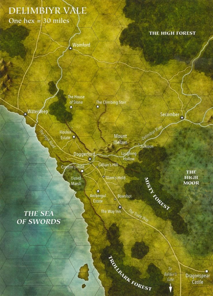 Delimbiyr Vale Hex Map Overland Daggerford Ghosts of Dragonspear Adventure Module Floshin Estate Cromms Hold Ambergul Estate Liams Hold Illefarn Laughing Hollow