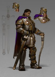 Sir Isteval Full Body with Sword and Armor Retired paladin of Amaunator veteran dragon slayer living Daggerford