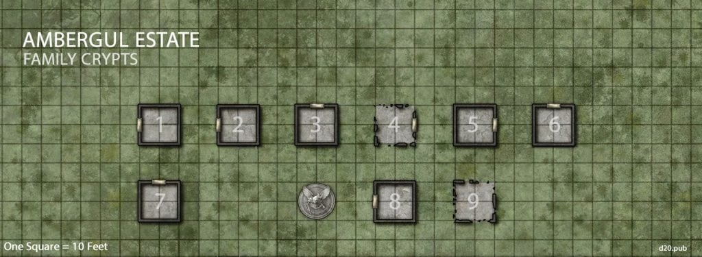 Ambergul Estate Family Crypts Battle Map Grid Numbers and Key Ghosts of Dragonspear Castle Adventure Module