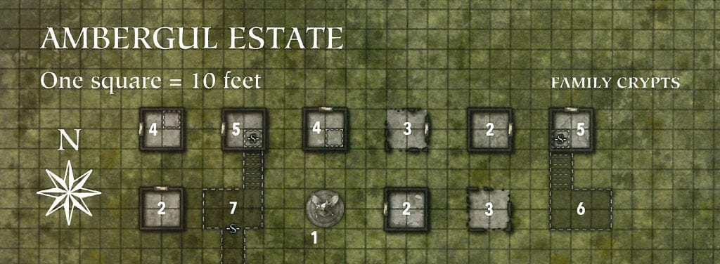 Ambergul Estate Family Crypts and Dungeon Battle Map GMs Dungeon Master Grid Numbers and Key Ghosts of Dragonspear Castle Adventure Module