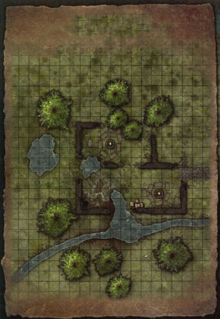 Bandit Lair Map Player Map No Labels Overhead with Grid Lizard Marsh Fane of the Sun Swallower D&D Next Preview Ghosts of Dragonspear Castle 5E Adventure Module