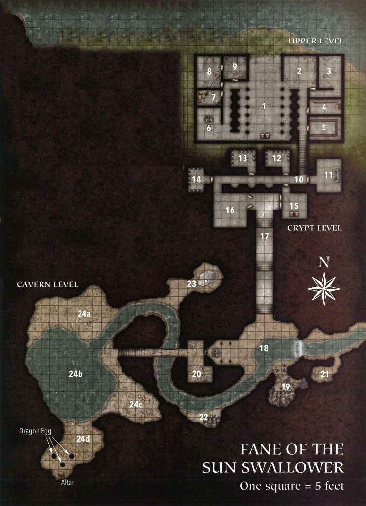 Dragon Lair Temple Crypt Cavern Lizardmen Lizard Queen Dungeon Master DM GM Map with Labels Overhead with Grid Fane of the Sun Swallower D&D Next Preview Ghosts of Dragonspear Castle 5E Adventure Module