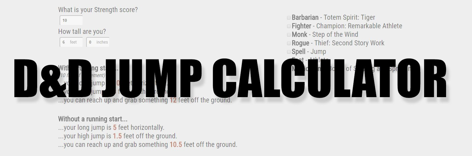 D&D 5th Edition Jump Calculator