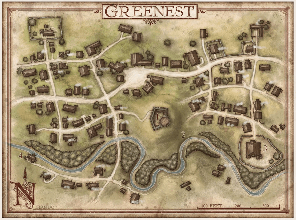 Greenest Town Map near Baldur's Gate on the Sword Coast Forgotten Realms Hoard of the Dragon Queen Adventure Module web