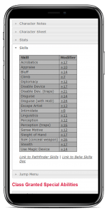 Responsive Mobile Friendly Browser Dungeons and Dragons D&D DND Pathfinder iPhone Character Sheet Programmed in PHP Download Code jQuery JavaScript