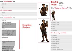 Responsive Mobile Friendly Phone and Tablet Browser Based Dungeons and Dragons D&D DND Pathfinder Character Sheets Programmed in PHP Download Code jQuery JavaScript