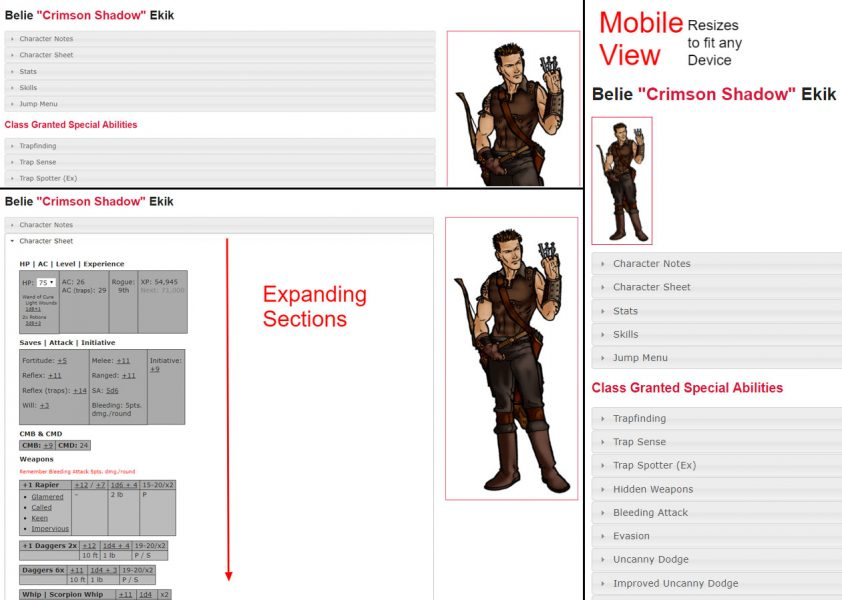 Mobile Phone or Tablet Friendly PHP Character Sheets