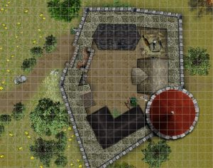 Simple battlemap for Hoard of the Dragon Queen Dungeons and Dragons Adventure Module Part 1 Keep in Greenest on Fire with grid