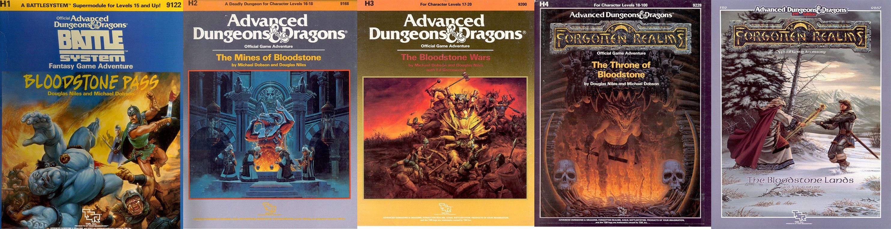 TSR 9122 H1 Bloodstone Pass and TSR 9168 H2 The Mines Of Bloodstone and TSR 9200 H3 The Bloodstone Wars and TSR 9228 H4 The Throne of Bloodstone and TSR 9267 FR9 The Bloodstone Lands Covers