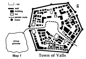 Town of Valls Players Map TSR 9122 H1 Bloodstone Pass Advanced Dungeons and Dragons 1E Adventure Module