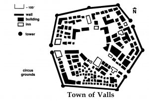Town of Valls Players Map without Circus Route TSR 9122 H1 Bloodstone Pass Advanced Dungeons and Dragons 1E Adventure Module