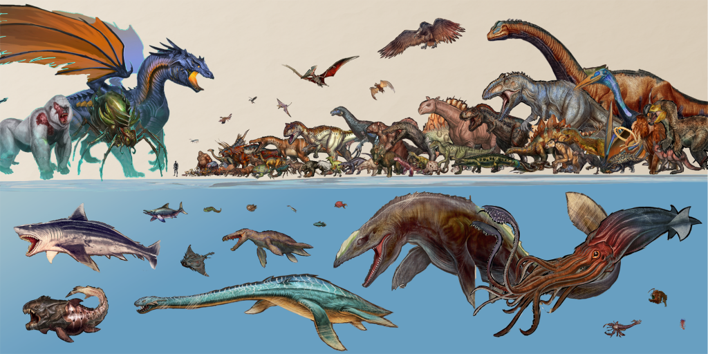 Ark Monster Creature Size Comparison Chart Great White Shark Dinosaurs Mosasaurus T-Rex Blue Dragon Giant Squid Brontosaurus Brachiosaurus Gorilla Pterodactyl