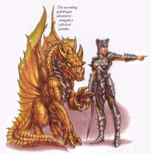 Friendly Ally Wyrmling Gold Dragon Adventures with 13th Level Paladin Female Draconomicon D&D DND Dungeons and Dragons Pathfinder D20