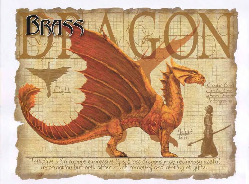 Friendly Dragons as Allies and not only Foes Enemies Adult Brass Dragon standing with a Human D&D DND Dungeons and Dragons Draconomicon Pathfinder