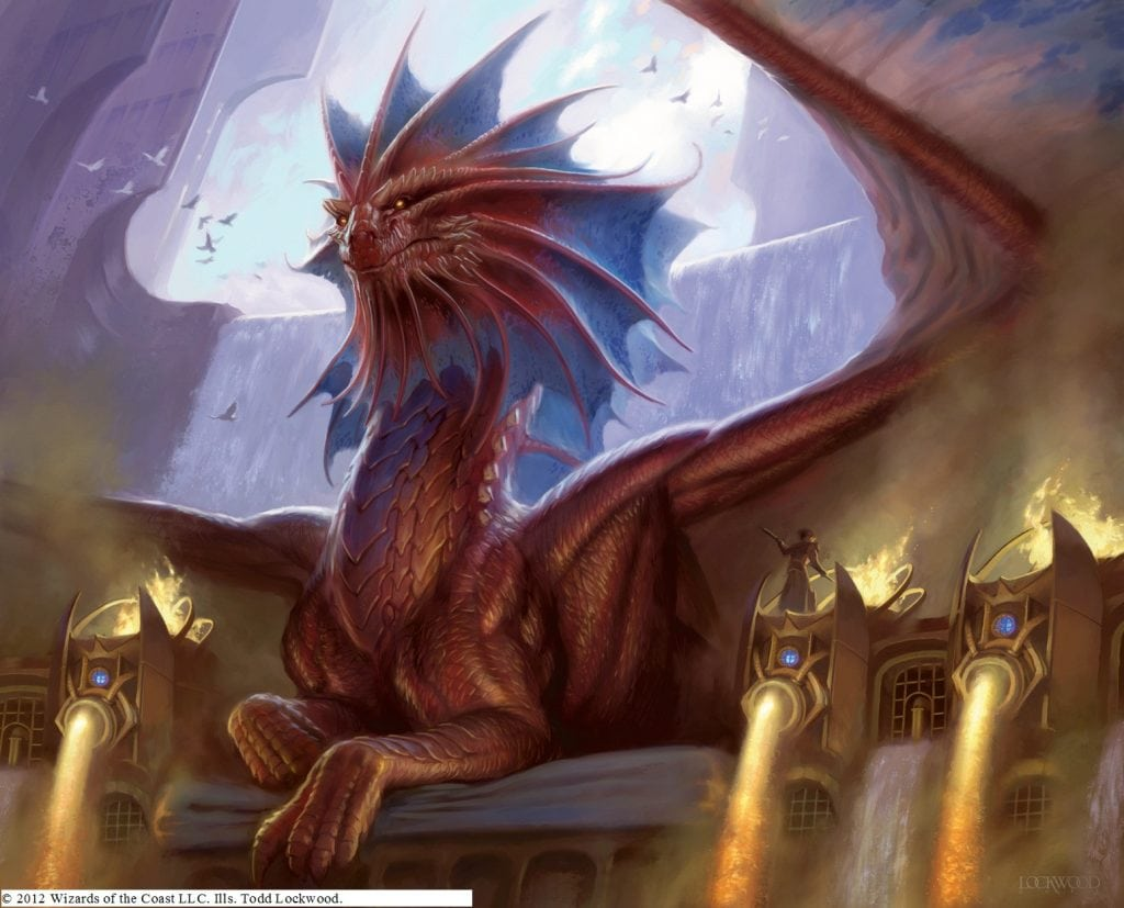 Good Dragon Sitting among Waterfall Castle Fire Liquid Gold Dungeons and Dragons as Friends Pathfinder 3.5 3.0 5E