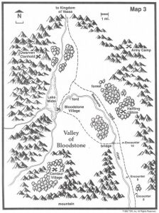 Valley of Bloodstone Dungeon Masters DM Overhead Cartography Halfling Shire Army Camp Dwarven Clanhold Centaur Village Map TSR 9122 H1 Bloodstone Pass-13