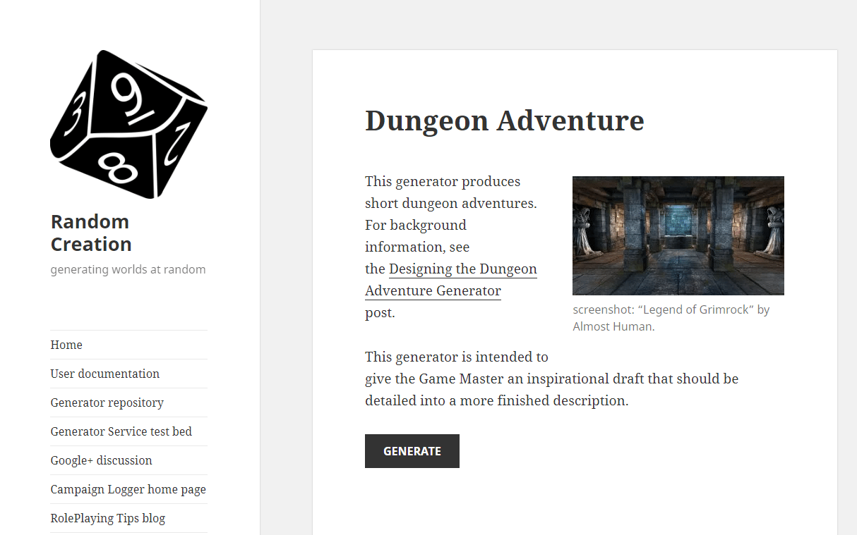 Random Creation Dungeon Adventure Generator Game Master Inspiration Text Dungeon without Battle Map