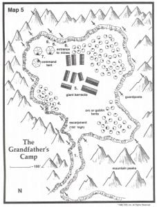 The Grandfather of Assassins Bandit Army Camp Map 5 TSR 9122 H1 Bloodstone Pass Page 32 Mines Entrance Giant Barracks Orc Goblins