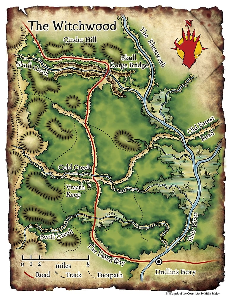 The Witchwood Player Map Drellins Ferry and The Dawn Way plus Elsir River Red Hand of Doom Adventure Module Map Set D&D DND Dungeons Dragons Pathfinder Small