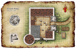 Vraath Keep Overhead Players Battle Map Grid with Roof Roofs Covered Castle from Red Hand of Doom Adventure Module for Dungeons and Dragons DND D20