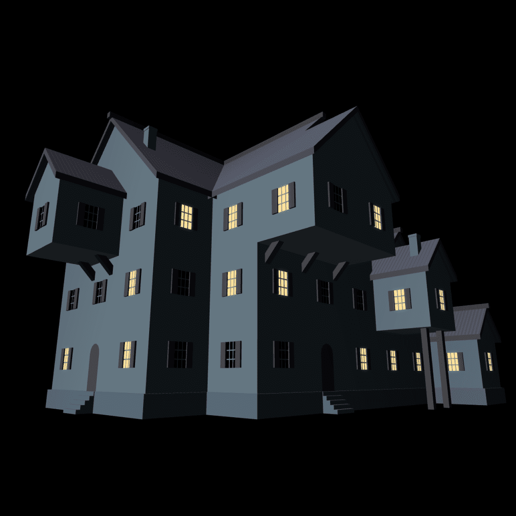 3D Building Mansion Nightime House Generator with Floor Plans Maps for Fantasy Tabletop RPG Role Playing Games Dungeons and Dragons DND Pathfinder